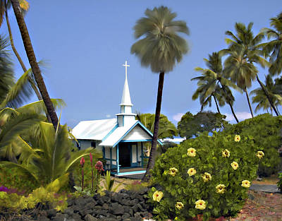 Photograph - Little Blue Church Kona by Kurt Van Wagner