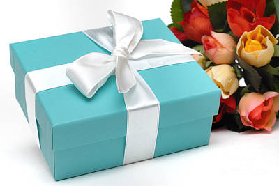 Little Blue Gift Box And Flowers Art Print