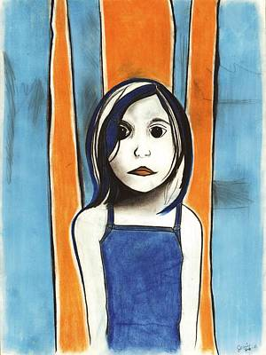 Small Lonely Painting - Little Blue Girl by Anna Kaszupski