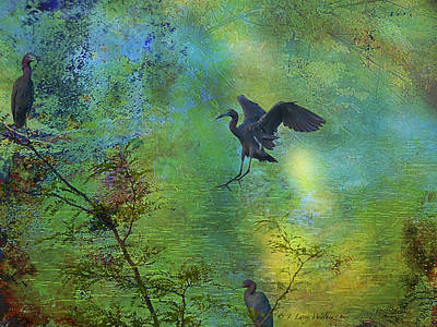 Digital Art - Little Blue Heron by J Larry Walker