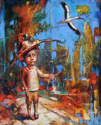 Little Boy And Kite Art Print by Michal Kwarciak