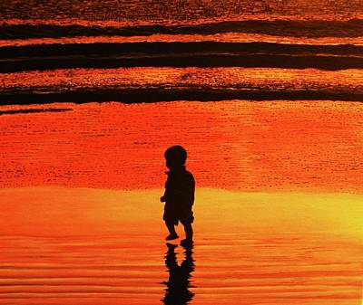 Little Boy At The Beach Art Print