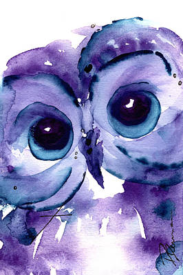 Whimsical Owl Painting - Little Boy Blue by Dawn Derman