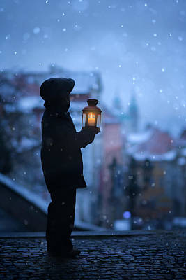Amazing Stories Photograph - Little Boy Holding Lantern Looking Over The City In The Evening by Tatyana Tomsickova