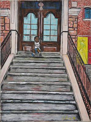 Skyline Painting - Little Boy In New York City by Rubino CELINE