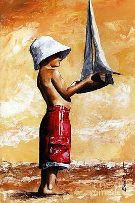 Fairy Tale Art Painting - Little Boy In The Beach by Emerico Imre Toth