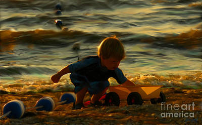 Little Boy On The Beach Art Print by Jeff Breiman