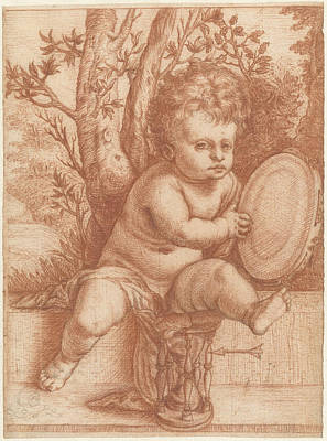 Hourglass Drawing - Little Boy With Tambourine And Hourglass by Quint Lox