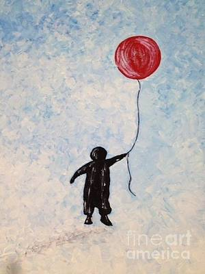 Cloudy Day Drawing - Little Boy With The Big Red Balloon by Evelyn LUM