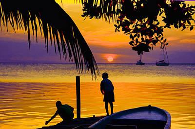 Belize Photograph - Little Boys Fishing At Sunset by Lee Vanderwalker