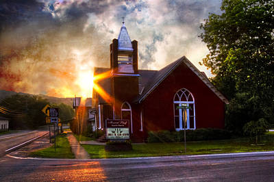 Little Brick Chapel Art Print by Debra and Dave Vanderlaan