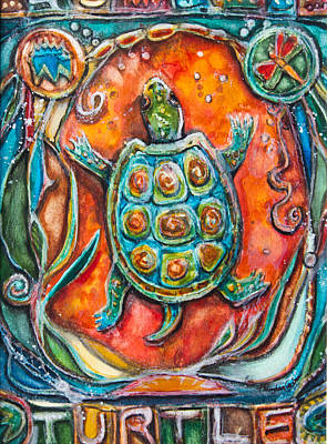 Reptiles Mixed Media - Little Brother Turtle II by Patricia Allingham Carlson