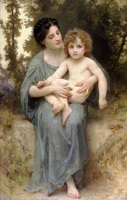 Digital Art - Little Brother by William Bouguereau