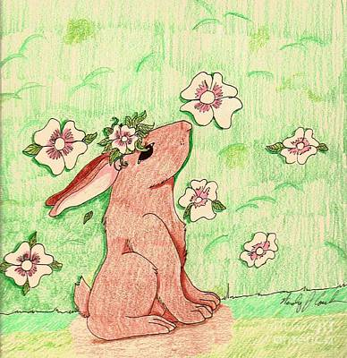 Art Print featuring the drawing Little Bunny Big Dreams by Wendy Coulson