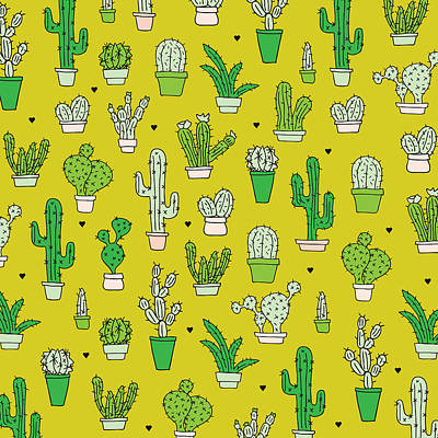 Retro Digital Art - Little Cactus Botanical Garden by Maaike Boot
