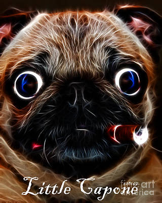 Puppy Digital Art - Little Capone - C28169 - Electric Art - With Text by Wingsdomain Art and Photography