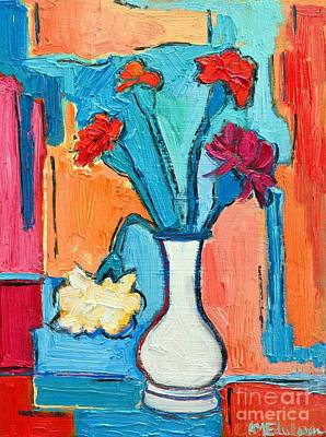 Little Carnations China Pink Flowers Print by Ana Maria Edulescu