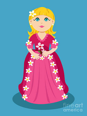 Flower Pink Fairy Child Digital Art - Little Cartoon Princess With Flowers by Sylvie Bouchard