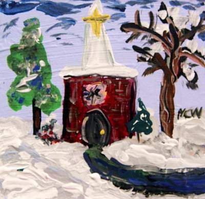 Art Print featuring the painting Little Chapel In The Snow by Mary Carol Williams