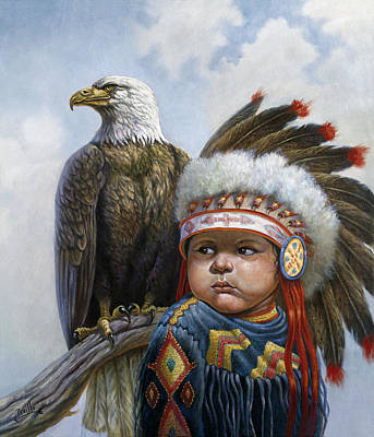 Indian Fine Art Painting - Little Chief by Gregory Perillo