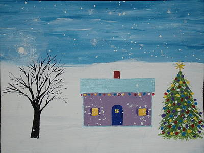 Painting - Little Christmas House by Daniel Nadeau