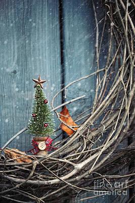 Photograph - Little Christmas Tree Ornament On Wreath by Sandra Cunningham