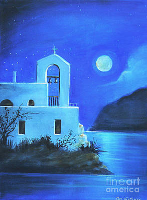 Art Print featuring the painting Little Church By The Sea by S G