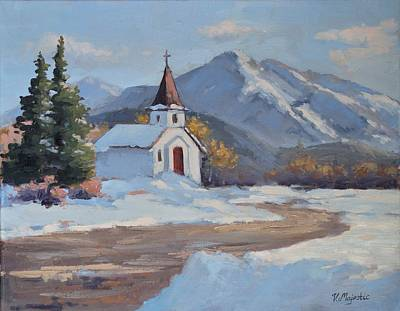 Painting - Little Church In The Carphatian Mountains by Viktoria K Majestic