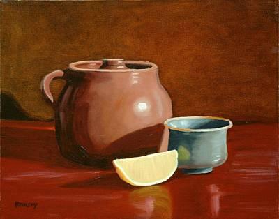 Little Clay Pots And Lemon Art Print by Daniel Kansky