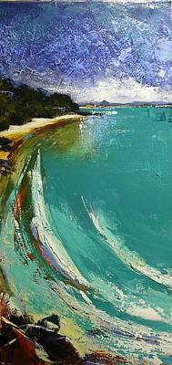 Painting - Little Cove Noosa Heads Abstract Palette Knife Seascape Painting by Chris Hobel