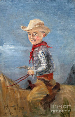 Painting - Little Cowboy - 1957 by Art By Tolpo Collection