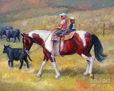 Pinto Painting - Little Cowboys Of Ruby Valley Western Art Cowboy Painting by Kim Corpany