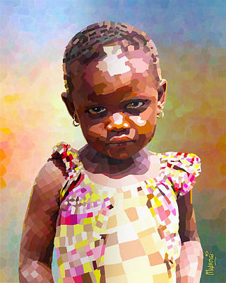 African-american Digital Art - Little Cute Girl by Anthony Mwangi