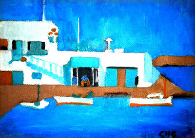 Hera Painting - Paros  Cute Spot On Greek Island by Colette V Hera  Guggenheim