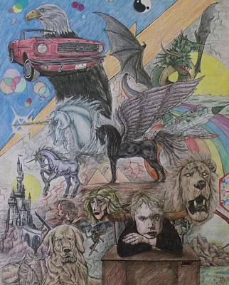 Pegasus Drawing - Little Daydreamer by Scott Dokey