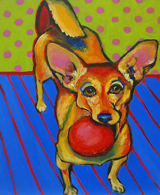 Painting - Little Dog Big Ball by Janet Burt