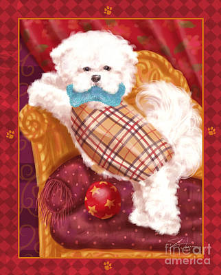 Prairie Dog Mixed Media - Little Dogs - Bichon Frise by Shari Warren