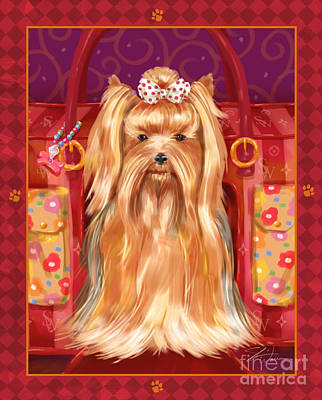 Whimsical Mixed Media - Little Dogs - Yorkshire Terrier by Shari Warren