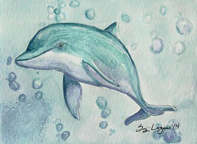 Bottle-nose Painting - Little Dolphin II by Suzi Logan