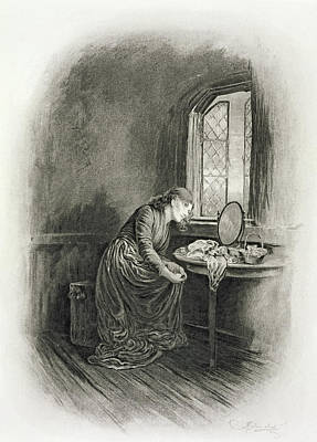 Pensive Drawing - Little Dorrit, From Charles Dickens A by Frederick Barnard