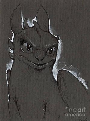 Fury Drawing - Little Dragon by Angel  Tarantella