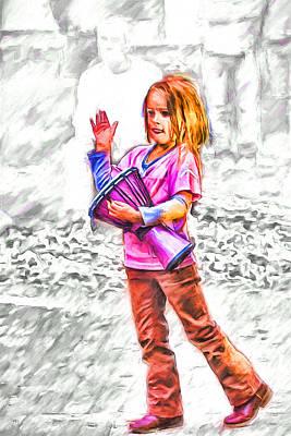 Asheville Mixed Media - Little Drummer Girl by John Haldane