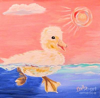 Painting - Little Ducky Swimming by Phyllis Kaltenbach