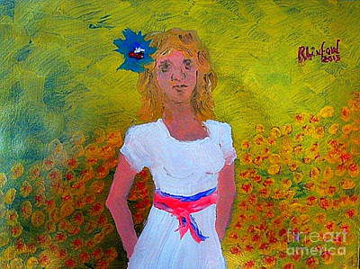 Painting - Little Dutch Girl In White Red Blue 1 by Richard W Linford
