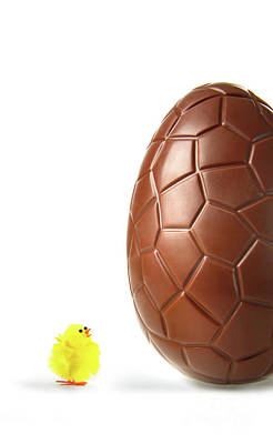 Photograph - Little Easter Chick Looking Up At Chocolate Egg by Sandra Cunningham