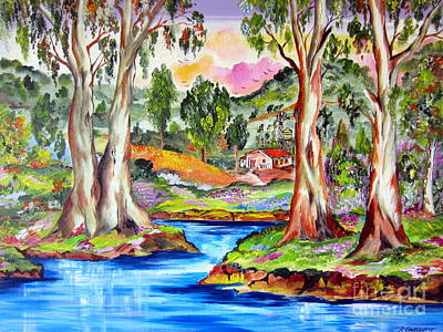 Painting - Little Farm In The Outback By The Water Pond by Roberto Gagliardi
