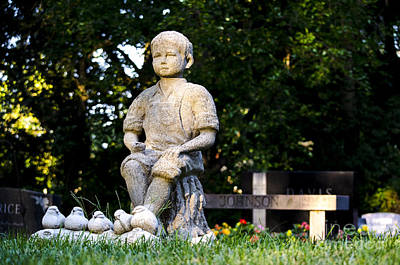 Photograph - Little Farmer Boy Cemetery Monument Glen Ellyn Illinois by Deborah Smolinske