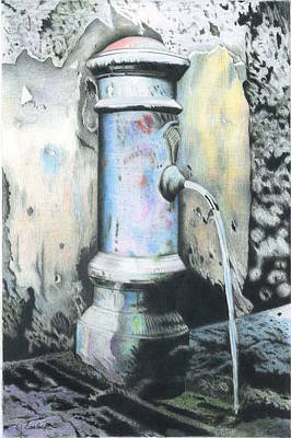 Drawing - Little Fountain In Roma by Wilfrid Barbier