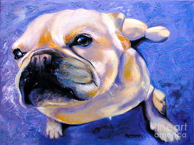 Pup Drawing - Little French Bulldog by Susan A Becker