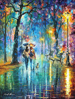 Little Friend - Palette Knife Oil Painting On Canvas By Leonid Afremov Original by Leonid Afremov